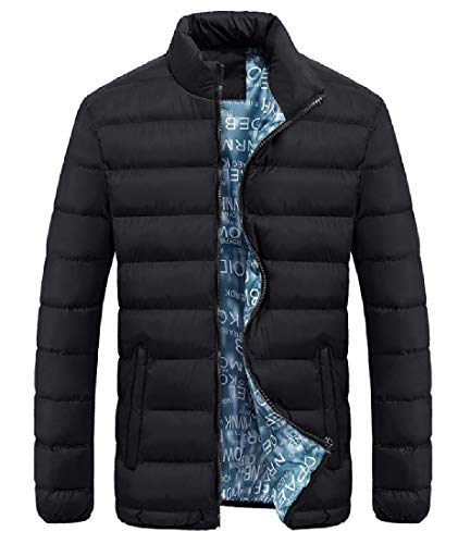 Quilted Adult Men Black Howme Zipper Stand Collar Winter Fall up Jacket awS785Sq