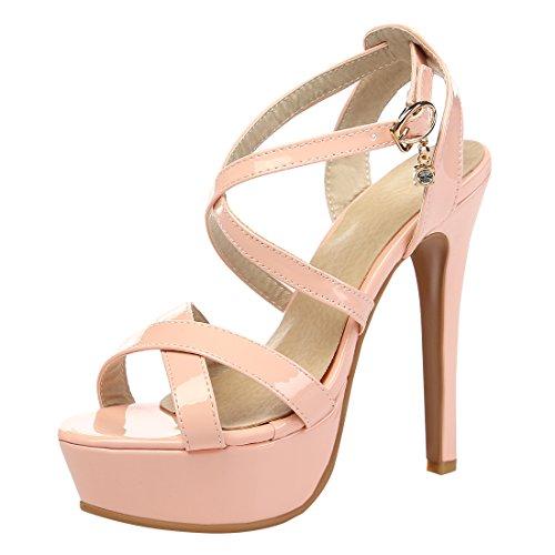 YE Damen Lackleder High Heel Stiletto Sandalen Moderne Elegante Pumps mit Knöchelriemchen Schuhe Rosa