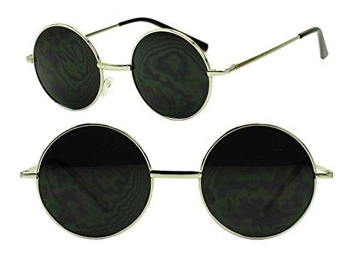 Sunglass Stop - Small Round Silver Vintage John Lennon Sunglasses w Dark Black Lens
