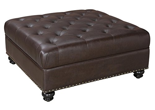 Hastings Brown Tufted Faux Leather Ottoman, Brown