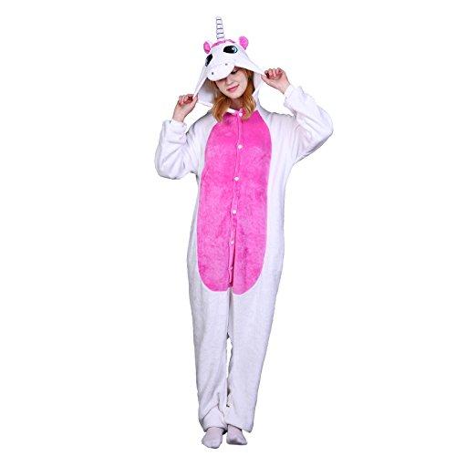 Elonglin Adult Unisex Pajama Animal Onesie Cosplay Flannels Costume Hooded Sleepsuit Sleepwear Nightwear For Home Party Halloween Music Festival Pink Unicorn Length 66-70 inch