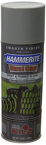 Masterchem Industries Hammerite Rust Cap Smooth Enamel Finish, 12 oz Aerosol Can, 18 sq-ft/gal, Gray ()