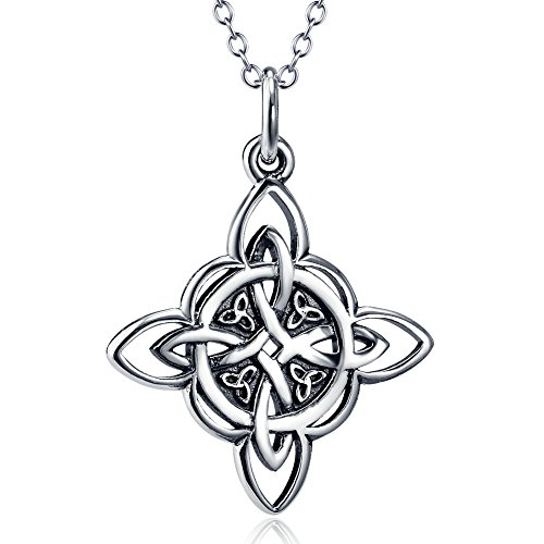 Knot Witches - Furious Jewelry 925 Sterling Silver Celtic Triquetra Trinity Knot Good Luck Pendant Necklace, Rolo Chain 18