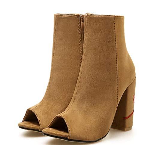 Heel High Chunky Peep Winter Herbst Heels Shiney Brown Toe Damenschuhe 2018 wxqS1Yx608