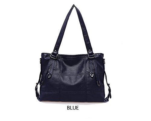 2017 New Fashion Patchwork Women Casual Shoulder Bag High Quality Black Pu Leather original Handbag Vintage Stitching Crossbody Bag sac ( Color Blue)