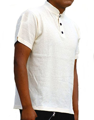 Alpacaandmore Natur weißes Herren Sommer Kurzarm Polo Shirt Rundkragen 100% ökologische Pima Baumwolle Biobaumwolle