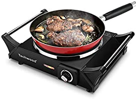 Techwood Hot Plate Portable Electric Stove 1500W Countertop Single Burner with Adjustable Temperature & Stay Cool...
