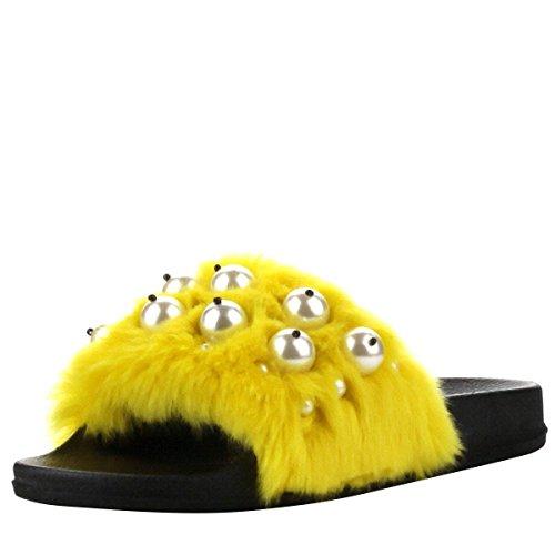 Cape Robbin Vrouwen Open Teen Faux Pearl Fur Slip Op Slipper Slippers Platte Sandalen Geel