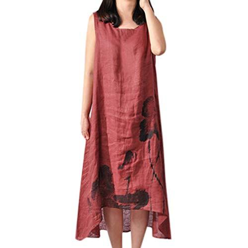 KESEELY New Cotton Linen Dress for Women Vintage Floral Asymmetrical Kaftan A-line Long Maxi Vest Dress Wine Red -