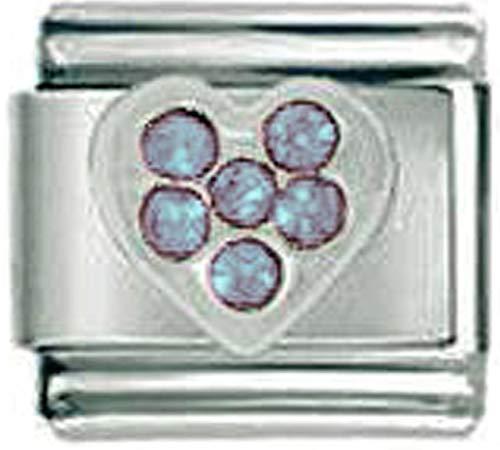 Stylysh Charms Birthstone Love Heart CZ Rhinestone 9mm Charm Fits Nomination Classic Child 9mm Birthstone Italian Charm