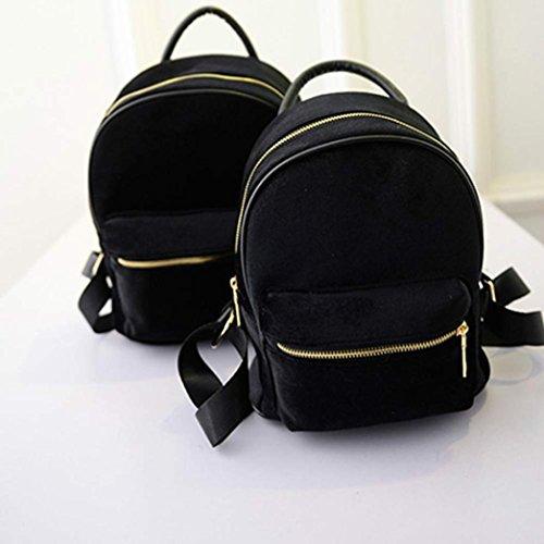 oro moda mujeres zarupeng pequeño mochila libro terciopelo Las mochila de Negro hombro de escolares de BqXFq