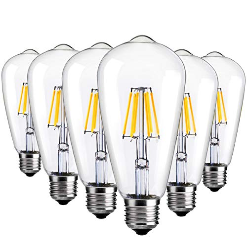 Med 60w Bulb (6 Packs Edison Light Bulbs Antique Vintage Style 6W Edison Bulbs Dimmable LED Light Bulbs E26 Base Squirrel Cage Filament 6000K Cold White for Sconces Wall Pendant Lighting by LUXON)