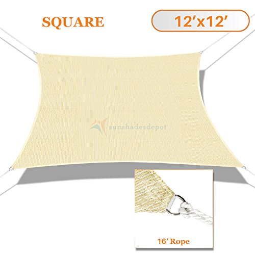 Sunshades Depot 12' x 12' Sun Shade Sail Square Permeable Canopy Tan Beige Custom Size Available Commercial Standard (Sunshade Sail Square)