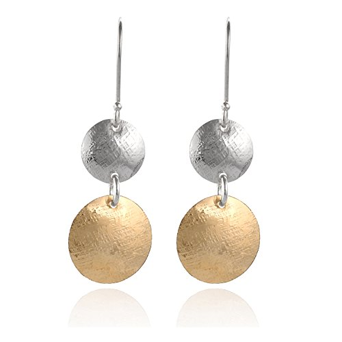 aduated Textured Discs 14k Gold Filled & 925 Sterling Silver Dangle Earring (Silver Dangling Disks Ring)