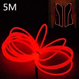LED Neon El Wire Lights - 5M Neon Lights Glowing Strobing Dance Party Costume Decor Light Flexible EL Rope Neon Sign Waterproof LED Strip With Controller Box Indoor/Outdoor Decorations (Red)