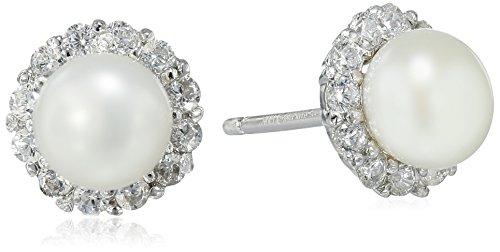 Hallmark Jewelry Sterling Silver Cubic Zirconia & Pearl Round Stud Earrings