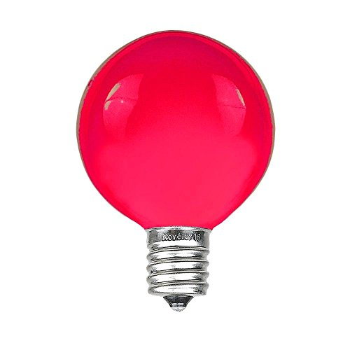 Novelty Lights 25 Pack G40 Outdoor String Light Globe Replacement Bulbs, Pink, C7/E12 Candelabra Base, 5 Watt