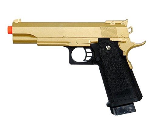 Gold Pistol - Galaxy G6G 1:1 Scale Colt 1911 Metal Airsoft Pistol - Gold w Black Handle