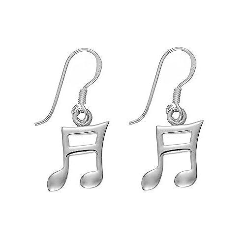 e64056d3dc04 Silverly Semicorchea Nota Musical Pendientes pendientes Colgantes Pequeños  de Mujer Plata de Ley .925 El