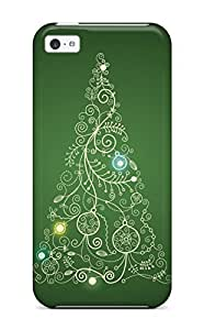 Defender Case For Iphone 5c, Christmas Tree Card Drawing Festive Xmas Santa Claus Holiday Christmas Pattern