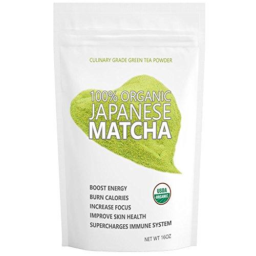 Japanese Matcha Ryori (16oz/453g) - USDA Organic, Vegan and Gluten-Free. Pure Matcha Green Tea Powder. Fall-Green color with mild natural bitterness.