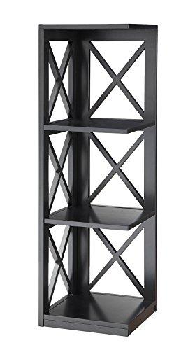 Convenience Concepts Oxford 3-Tier Corner Bookcase, Black