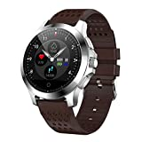 2019 New W8 Smart Watch Color Screen ECG and PPG IP67 Sports Stopwatch Bluetooth Physiological Feedbacker for Android iOS (Brown)