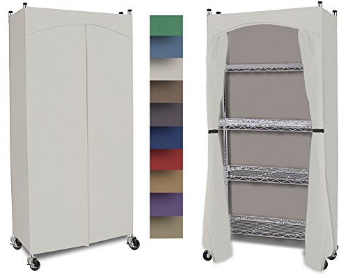 Wardrobe 5-Shelf Closet w/ Premium Cotton Canvas/Duck Cover (72-75Hx36Wx18D) Cream