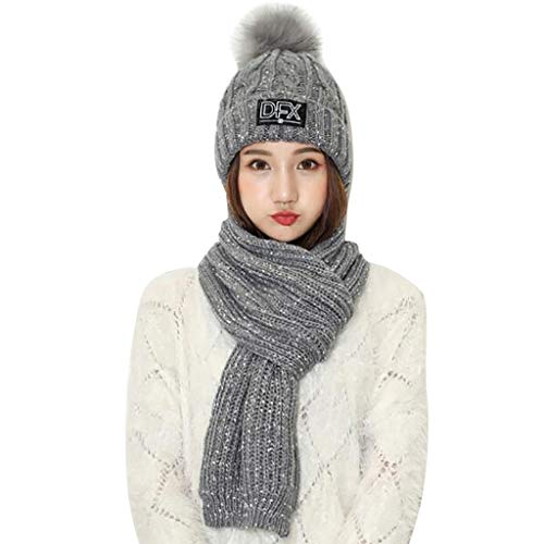 residentD 2PCS Adult Warm Ski Pom Knitted Hat+Solid Color Scarf Set Winter Beanie Hat (Gray)