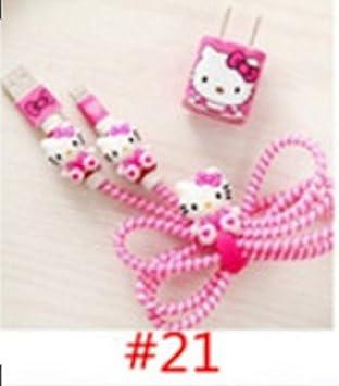 3D protector cable cargador (Hello Kitty Fucsia): Amazon.es ...