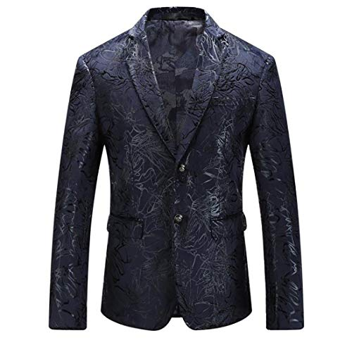 Mens Blazer Floral Dress Suit Jacket Party Tuxedos Slim Fit Luxury Notched Lapel Blazer(Black, M)