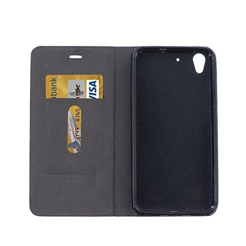Mobile Phone Cases&decorate Huawei Honor patrón de lona 5A PU + TPU Horizontal Flip caja de cuero con ranuras de titular y tarjeta ( Color : Dark blue ) Black