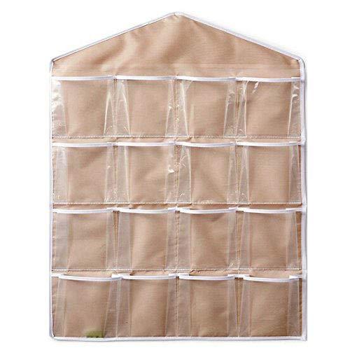 juguetes y ropa interior para colgar en la puerta o en la pared zapatos Bolsa de almacenamiento para organizar el armario de Caxmtu para clasificar los calcetines con 16 bolsillos transparentes