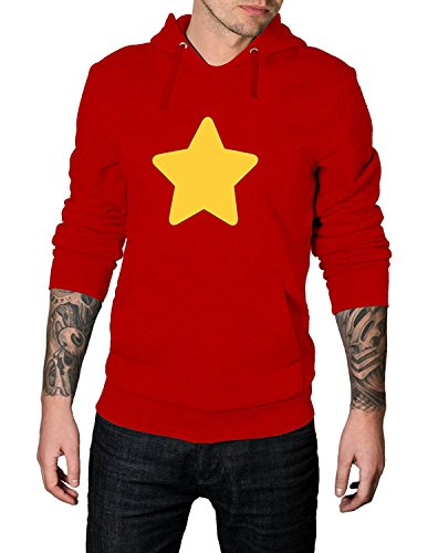 Yellow Star Mens Steven Universe Hoodie Red Pullover Hooded Sweatshirt (Red - Steven Universe Hoodie, L) ()