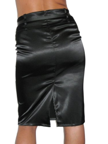 ICE (2328) Stretch Black Satin Pencil Skirt-12 at Amazon Women's ...