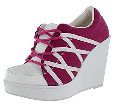 Volatile Excitation Women's Platform Wedge Sneakers Shoes Pink Sz 8
