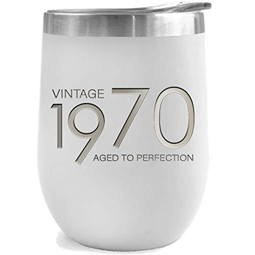 1970 49th Birthday Gifts for Women and Men White 12 oz Insulated Stainless Steel Tumbler | 49 Year Old Presents | Mom Dad Wife Husband Present | Party Decorations Supplies Anniversary Tumblers Gift th (Birthday Present For 49 Year Old Man)