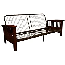 Epic Furnishings Brentwood Mission-Style Futon Sofa Sleeper Bed Frame, Queen-size, Mahogany Arm Finish