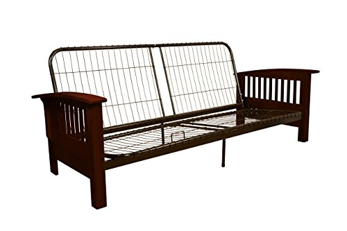 yle Futon Sofa Sleeper Bed Frame, Queen-size, Mahogany Arm Finish (Mahogany Futon Frame)