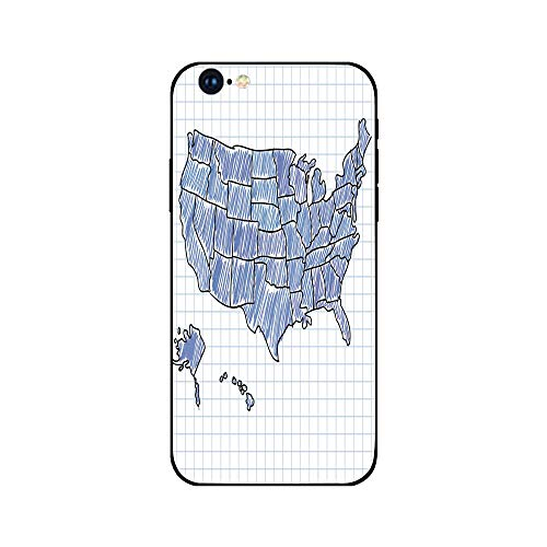 Phone Case Compatible with iphone6 iphone6s Mobile Phone Covers Phone Shell BrandNew Tempered Glass Backplane,Map,Hand Drawn US Map Sketchy Display Doodle Cartography Notebook Educational,Blue Violet