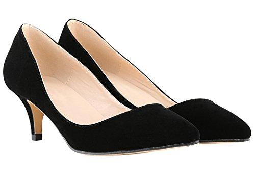 Velveteen On Dress Zehe zeigen geschlossene schwarz Kitten Slip Pumps Heel Frauen Low q8IRwP8a