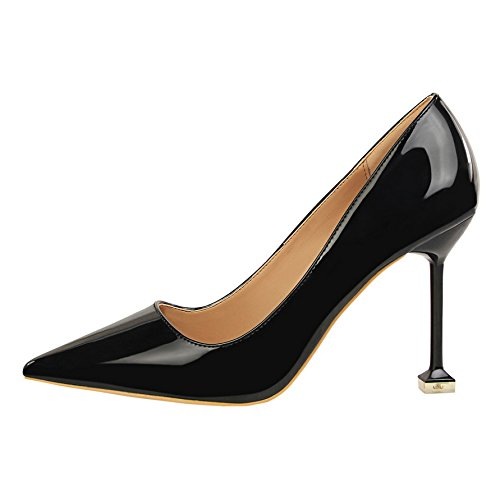 con negro boda negro Qiqi de boca altos Punta tacones Chica de 38 plata zapatos solo superficial rojo salvaje de fina zapatos Xue qz1F7wxZw