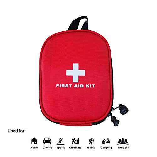 Roobuck First Aid Kit - for Car,Travel, Sports, Camping, Home,Hiking or Office | Complete Emergency Bag Fully stocked with Medical Supplies (red)