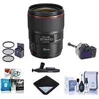 Canon EF 35mm f/1.4L II USM Auto Focus WA Lens, U.S.A. - Bundle with 72mm Filter Kit, LensPen Lens Cleaner, Lens Wrap, FocusShifter DSLR Follow Focus & Rack Focus, Cleaning Kit, Software Package