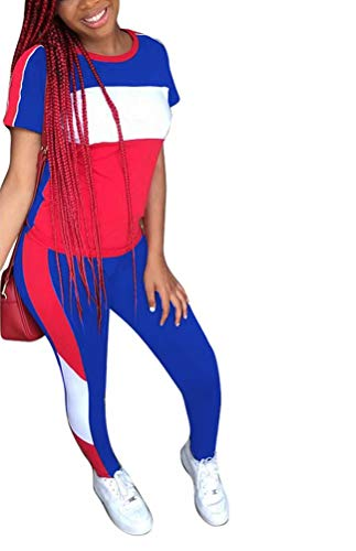 Women's Outfits Short Sleeve Active Top Blouse and Bodycon Leggings Set Tracksuit Royal Blue M