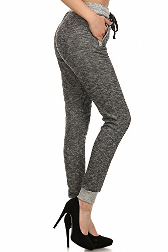 Sassy Apparel Women's Peppered Style Drawstring Jogger Pants with Pockets (Small, Gray)