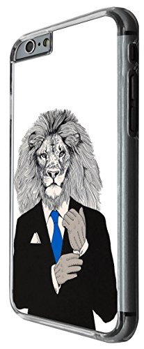 1078 - Cool fun lion head boss man suit inspiration success tie main man nature Design For iphone 6 Plus / iphone 6 Plus S 5.5'' Fashion Trend CASE Back COVER Plastic&Thin Metal -Clear