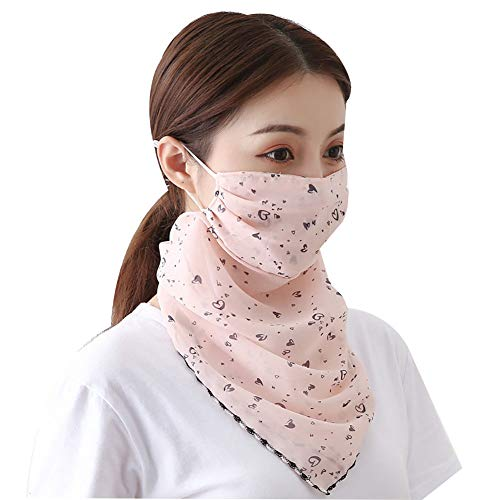 Fenfangxilas Fashion Unisex Mouth Face Cover Fashion Printed Outdoor Cycling Breathable Women Anti UV Sun Scarf Face Safety Face for Dust Protection – Heart Light Pink