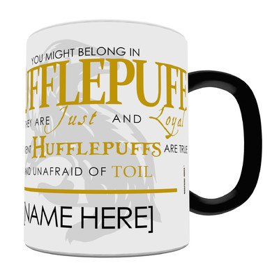 Morphing Mugs Personalized Harry Potter Hufflepuff Sorting Hat Heat Reveal Ceramic Coffee Mug - 11 Ounces - ADD YOUR OWN NAME TO YOUR HOGWARTS HOUSE! -