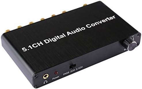 RCAケーブル ホームシアター/ PS4 / PS3 / XBOX360、サポートボリュームコントロール、AC-3、DTSのための光トスリンクSPDIF同軸と5.1CHデジタルオーディオデコーダコンバータ.